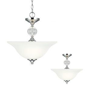 Englehorn Chrome and Optic Crystal Two Light Semi-Flush Convertible Pendant