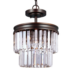 Carondelet Burnt Sienna Two-Light  Semi-Flush Convertible Pendant with Prismatic Glass