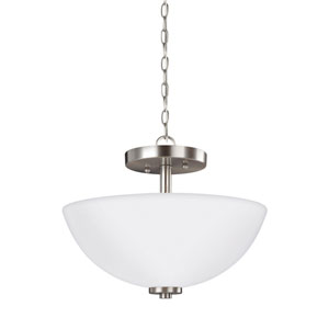 Oslo Brushed Nickel 13.5-Inch Two-Light Semi-Flush Mount Convertible Pendant