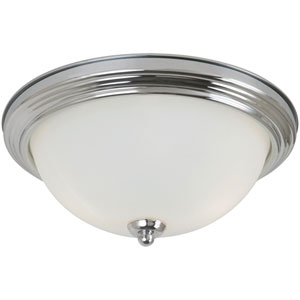 Chrome LED 10-Inch Ceiling Flush Mount with Satin Etched Glass