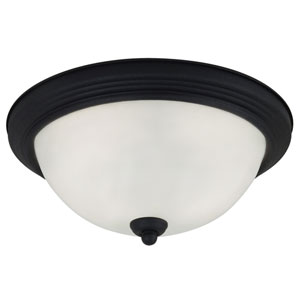 Blacksmith LED 13-Inch Ceiling Flush Mount with Satin Etched Glass