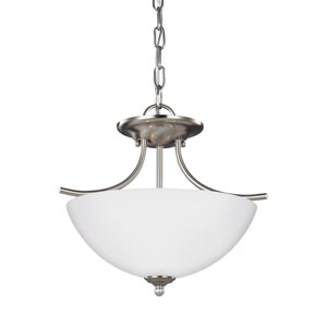 Bannock Brushed Nickel 13.5-Inch Two-Light Semi-Flush Mount Convertible Pendant