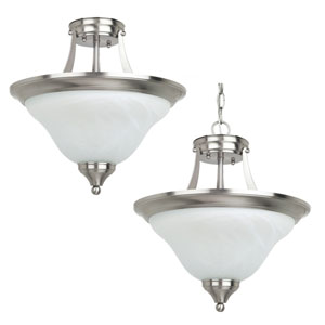 Brockton Brushed Nickel  Two-Light Close to Ceiling Light