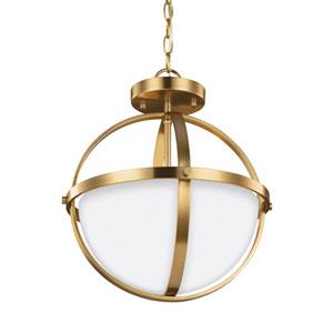 Alturas Satin Brass 14-Inch Two-Light Semi-Flush Mount Convertible Pendant
