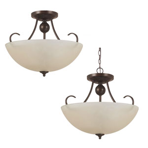Lemont Burnt Sienna  Three-Light Close to Ceiling Light