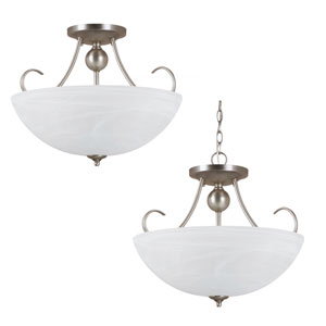 Lemont Antique Brushed Nickel  Three-Light Close to Ceiling Light