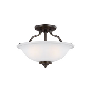 Emmons Heirloom Bronze 13-Inch Two-Light Semi-Flush Mount