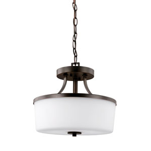 Hettinger Burnt Sienna 13-Inch Two-Light Semi-Flush Mount Convertible Pendant