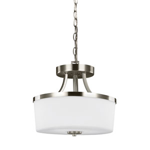 Hettinger Brushed Nickel 13-Inch Two-Light Semi-Flush Mount Convertible Pendant