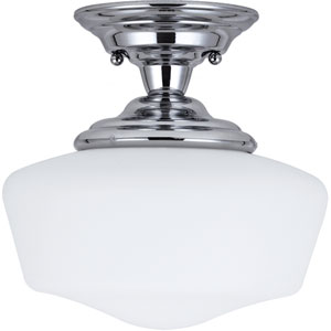 Academy Chrome LED Small Semi-Flush Mount with Satin White Schoolhouse Glass