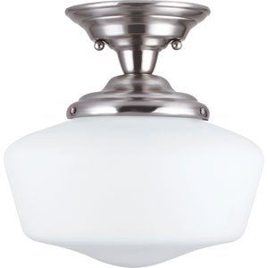 Academy Brushed Nickel  One-Light Close to Ceiling Light