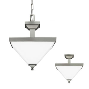Denhelm Brushed Nickel 18.25-Inch Two Light Semi-Flush Convertible Pendant