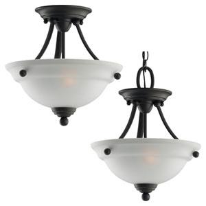 Wheaton Two-Light Heirloom Bronze Semi-Flush with Satin EtchedGlass