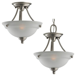 Wheaton Two-Light Brushed Nickel Convertible Semi-Flush with Satin EtchedGlass