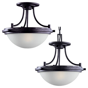 Winnetka Two-Light Blacksmith Convertible Semi-Flush with Satin Etched Glass