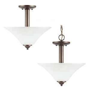 Holman Bell Metal Bronze  Two-Light Close to Ceiling Light