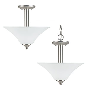 Holman Brushed Nickel  Two-Light Close to Ceiling Light
