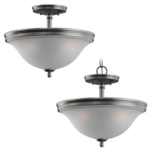 Gladstone Antique Brushed Nickel Three-Light Ceiling Light