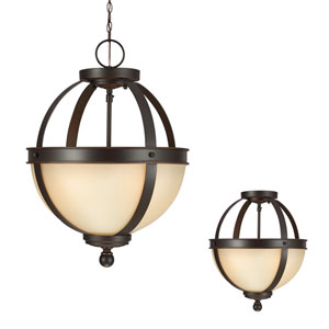 Sfera Autumn Bronze Two Light Semi-Flush Convertible Pendant with Cafe Tint Glass