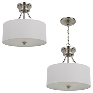 Stirling Two-Light Brushed Nickel Convertible Semi-Flush