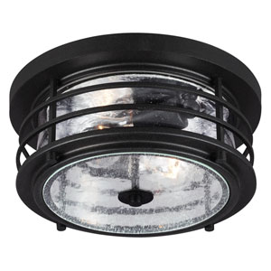 Sauganash Black Two Light Outdoor Ceiling Flush Mount Fixture