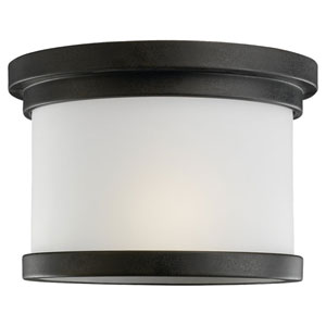 Winnetka One-Light Forged Iron Outdoor Flush Mount with Satin Etched Glass