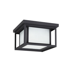 Hunnington Black 10-Inch Two-Light Outdoor Flush Mount