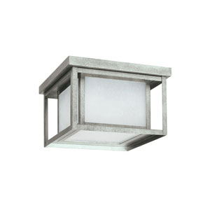 Hunnington Weathered Pewter 10-Inch Two-Light Outdoor Flush Mount