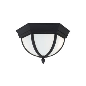 Wynfield Black 13-Inch Two-Light Outdoor Flush Mount