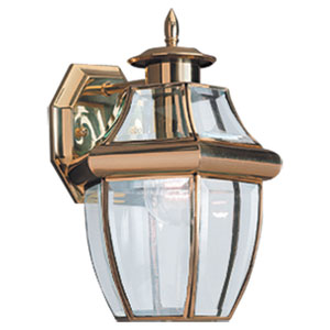 Curved Beveled Brass One-Light Outdoor Wall Mount