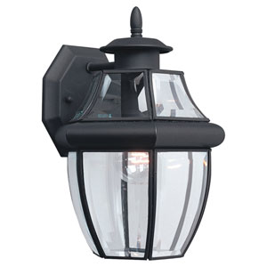 Curved Beveled Black One-Light Outdoor Wall Mount