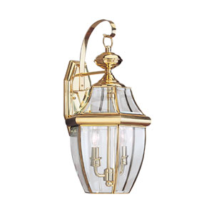 Lancaster Polished Brass 10-Inch Energy Star Two-Light Outdoor Wall Lantern