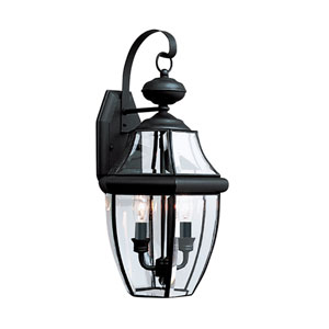 Lancaster Black 10-Inch Energy Star Two-Light Outdoor Wall Lantern
