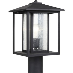 Hunnington Black One-Light Outdoor Post Lantern with Clear Seeded Glass