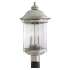 Hermitage Antique Brushed Nickel Outdoor Post Mounted Lantern