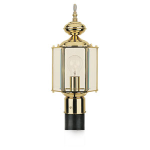 Classico Polished Brass Outdoor Post Mounted Lantern