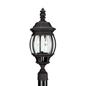 Wynfield Black 8-Inch Energy Star Two-Light Outdoor Post Lantern