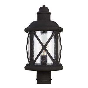 Lakeview Black One-Light Post Mount with Clear Seeded Glass