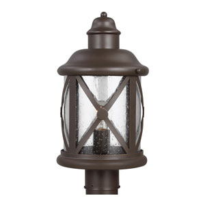 Lakeview Antique Bronze One-Light Post Mount with Clear Seeded Glass