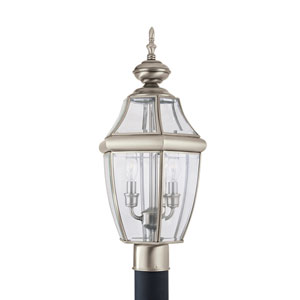 Lancaster Antique Brushed Nickel 10-Inch Energy Star Two-Light Outdoor Post Lantern