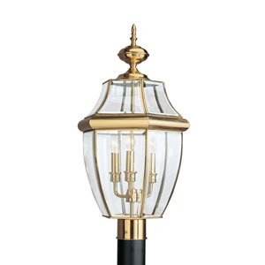 Lancaster Polished Brass 12-Inch Energy Star Three-Light Outdoor Post Lantern