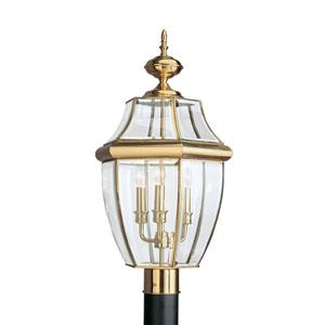 Lancaster Polished Brass 12-Inch Energy Star Three-Light Outdoor Post Lantern