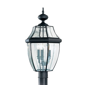 Lancaster Black 12-Inch Energy Star Three-Light Outdoor Post Lantern
