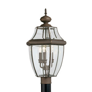 Lancaster Antique Bronze 12-Inch Energy Star Three-Light Outdoor Post Lantern