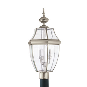 Lancaster Antique Brushed Nickel 12-Inch Energy Star Three-Light Outdoor Post Lantern