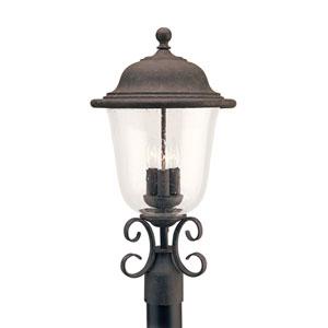 Trafalgar Oxidized Bronze 12-Inch Energy Star Three-Light Outdoor Post Lantern