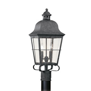 Chatham Oxidized Bronze 9-Inch Energy Star Two-Light Outdoor Post Lantern