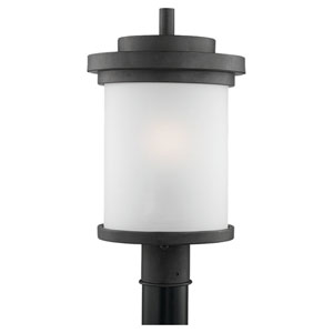 Winnetka One-Light Forged Iron Outdoor Post Lantern with Satin EtchedGlass