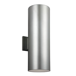 Outdoor Painted Brushed Nickel Six-Inch Two-Light  Wall Lantern with Clear Tempered Glass