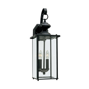 Jamestowne Black 7-Inch Energy Star Two-Light Outdoor Wall Lantern